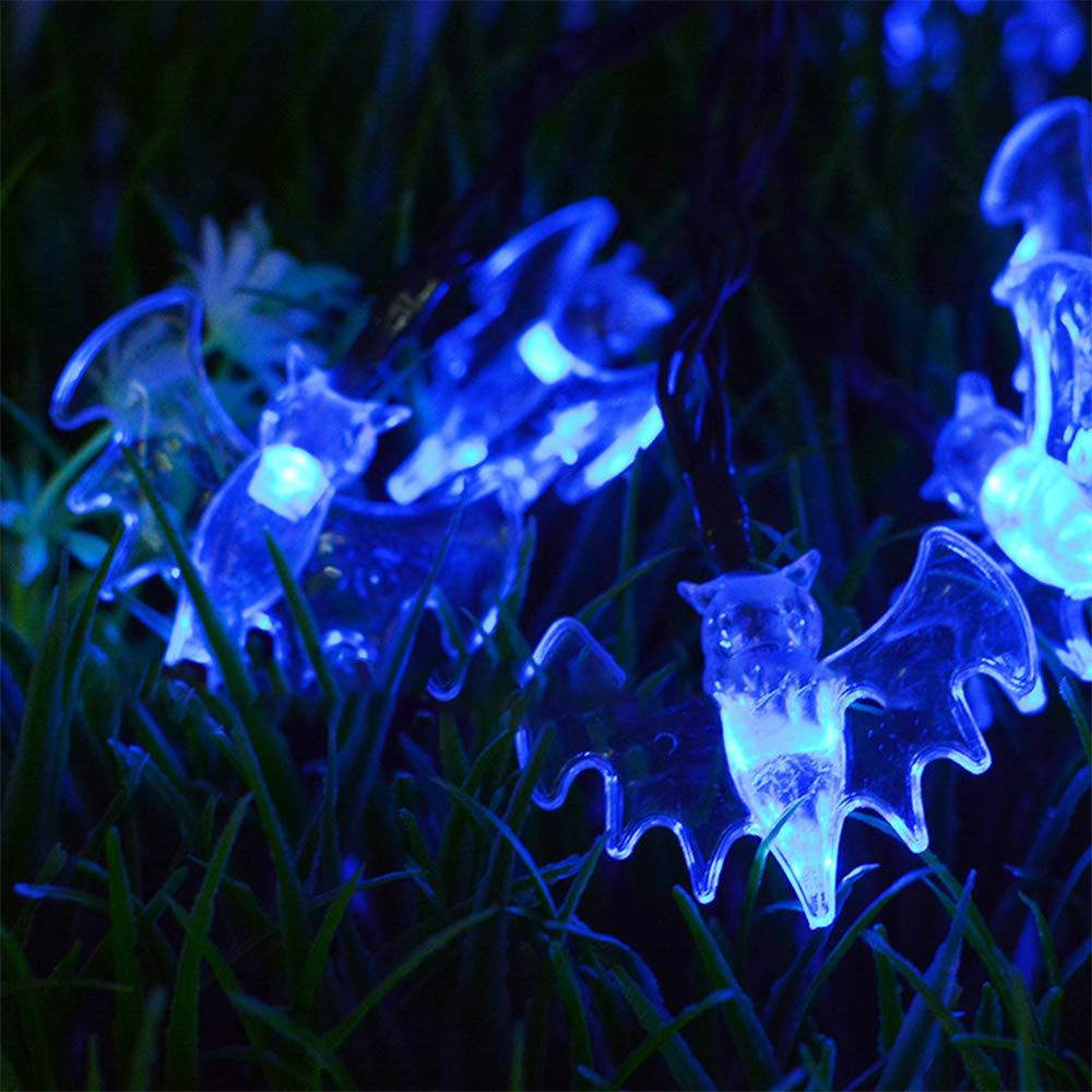 XIYU 20ft 6m Halloween Bat String Lights Solar Opowered Constant//Flash 30 LED Blue Fairy String Lights Chirsmas Tree Lights for Horror Nights Lighting Indoor Holiday Home