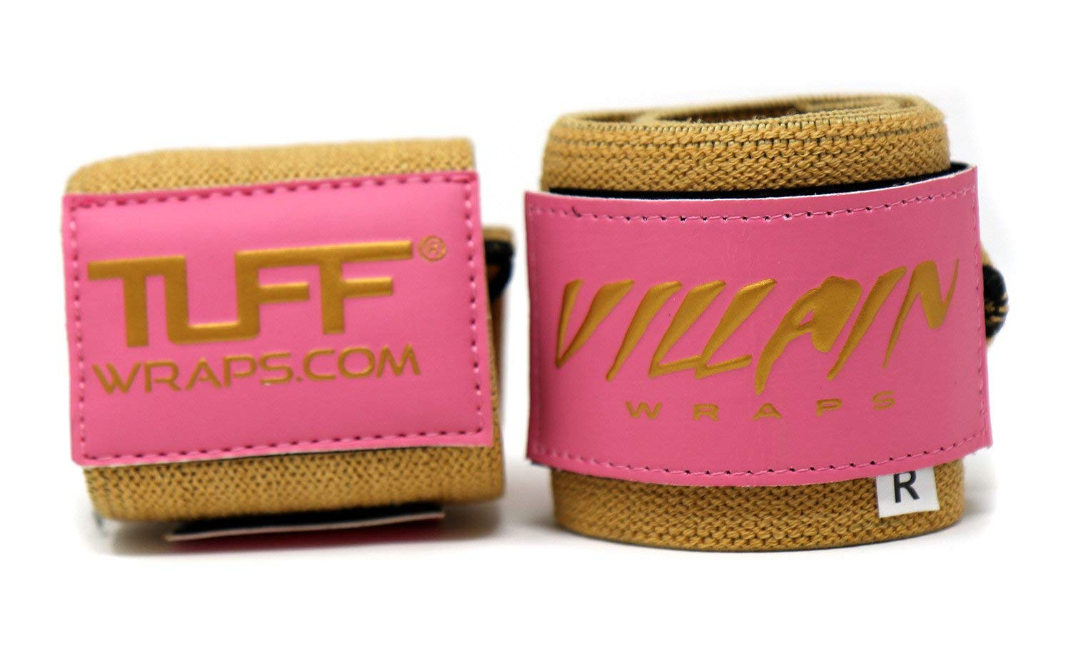 Villain Wrist Wraps 16'' for Powerlifting, Weightlifting, Strongman Training, Crossfit - Never Fuss with Thumb Loops Again - 30 Day Guarantee - (Pink & Gold, 16 Inches)