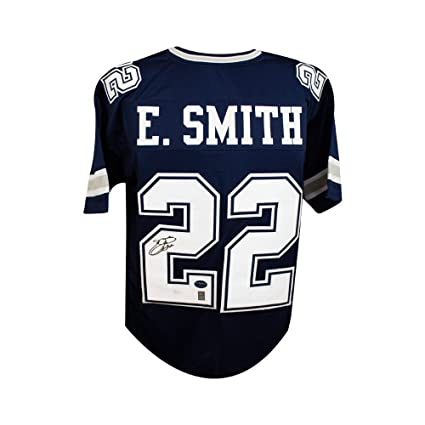 new product bfbc9 93635 Emmitt Smith Autographed Dallas Cowboys Custom Navy Football ...