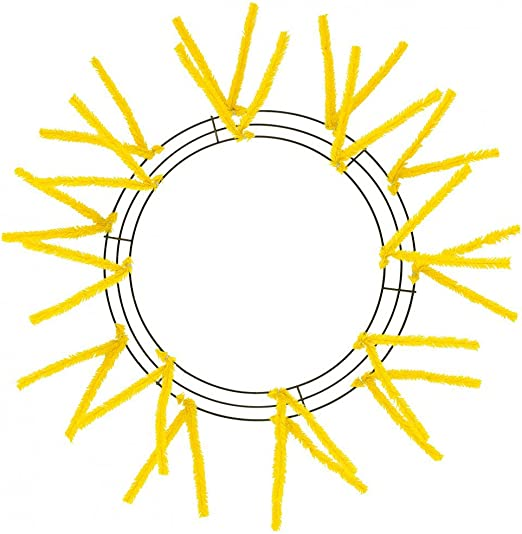 Amazon Com 15 24 Pencil Tinsel Work Wreath Round Form Yellow Diameter Outside 15 Finished Wreath Diameter 24 Spring Easter Home Kitchen