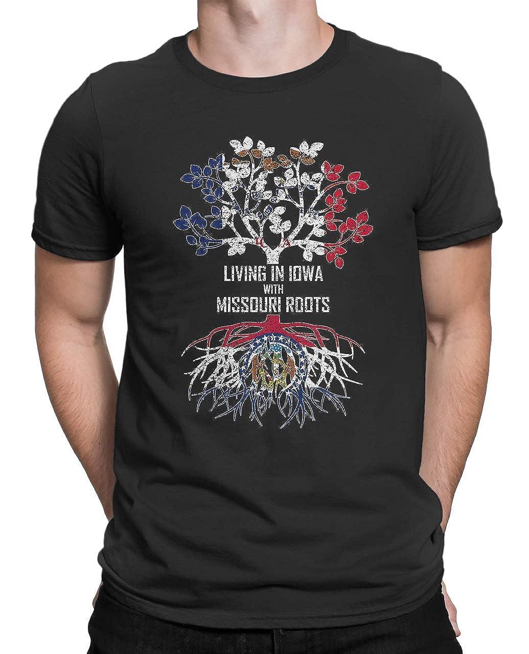 Tenacitee Mens Living in Iowa Missouri Roots T-Shirt