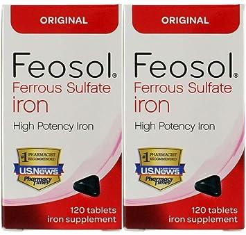 Amazon.com: Feosol Ferrous Sulfato Hierro, 120 unidades ...