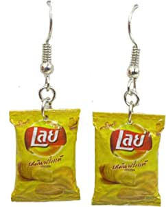 Polymer Clay Handmade Bags of Potato Chips Earrings