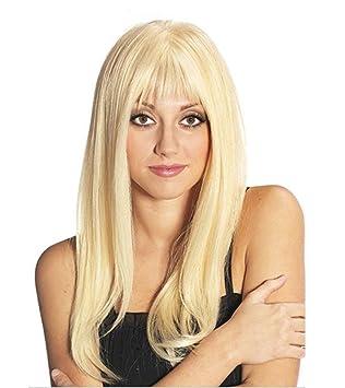 BeautyWig Largo Derecho Cabello Oro Pelucas con Golpes Cosplay Sintético Rubia Peluca para Mujer Natural como