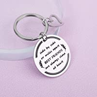 Best Friends Birthday Gifts Friendship Keychain for Women, Soul Sisters, BFF, Besties,Side by Side Or Miles Apart Best Friends Close at Heart Relationship Chrismas Thanksgiving Keyring
