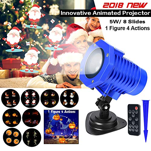 LED Projector Lights, Christmas Projection Lights, 8 Replaceable Slides IP65 Waterproof Landscape Animated Projector Light with Remote Control for Halloween Christmas Party and Garden Decoration -