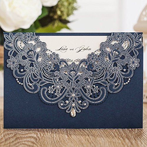 Printable Dinner Invitations - Wishmade Navy Blue Laser Cut Wedding Invitations Cards with Flora Lace Rhinestone for Birthday Baby Shower Dinner wedding invites Cards