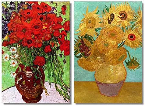 Famous Oil Painting Reproduction Replica Set of 2 Still Life Vase with Twelve Sunflowers Red Poppies and Daisies by Van Gogh x2 Panels