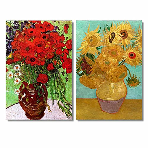 (Famous Oil Painting Reproduction/ Replica Set of 2 - Still Life Vase with Twelve Sunflowers & Red Poppies and Daisies by Van Gogh Canvas Prints Wall Art/Ready to Hang Wrapped Canvas - 16
