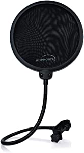 AUPHONIX Microphone Pop Filter (MPF-1) – Easy-On 6inch Shield for Powerful Vocals Blocks Thud, Pop, BP Plosives, S Hiss for Clear as a Bell Sound – Double Optimized Mesh Filter Windscreen Cover Mask