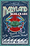 Blue Crabs Vintage Sign - Solomons Island, Maryland (9x12 Collectible Art Print, Wall Decor Travel Poster)