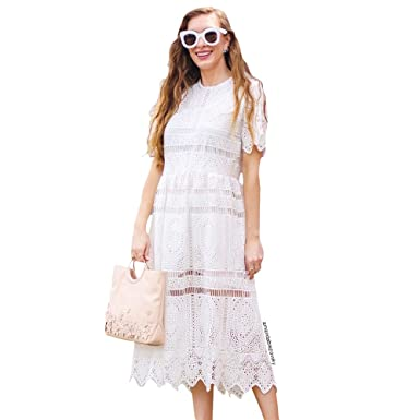 264a9bad8 Chicwish Women's White Short Sleeves Round Neckline Lace Crochet Eyelet  Midi Dress