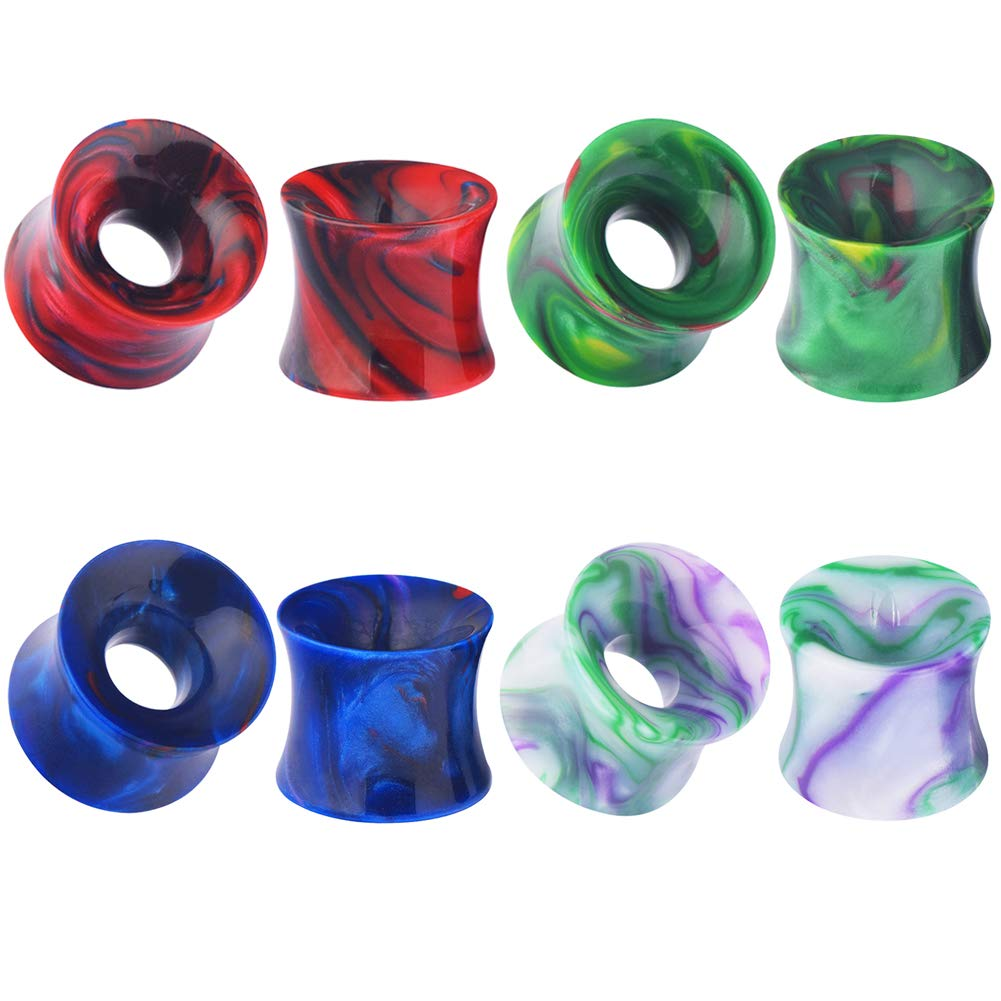 Alphapierce Acrylic Fluorescent Horn Double Flared Ear Tunnels Plugs Gauges 2g - 9/16'' (4Pairs=1/2''(12mm))