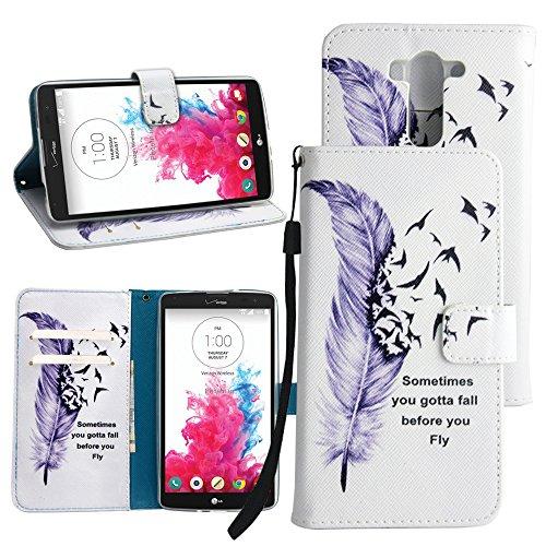 LG Vista Wallet Case, LG G Vista Leather Case, Harryshell(TM) Feather Wallet Folio Leather Flip Case Cover Build in Credit Card Id Holder with Wrist Strap for LG G Vista Vs880