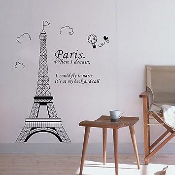 Docooler Romantic Paris Eiffel Tower Beautiful View Of France Diy Wall Wallpaper Stickers Art Decor Mural Room Decal Lm7007 70 50cm Amazon Com