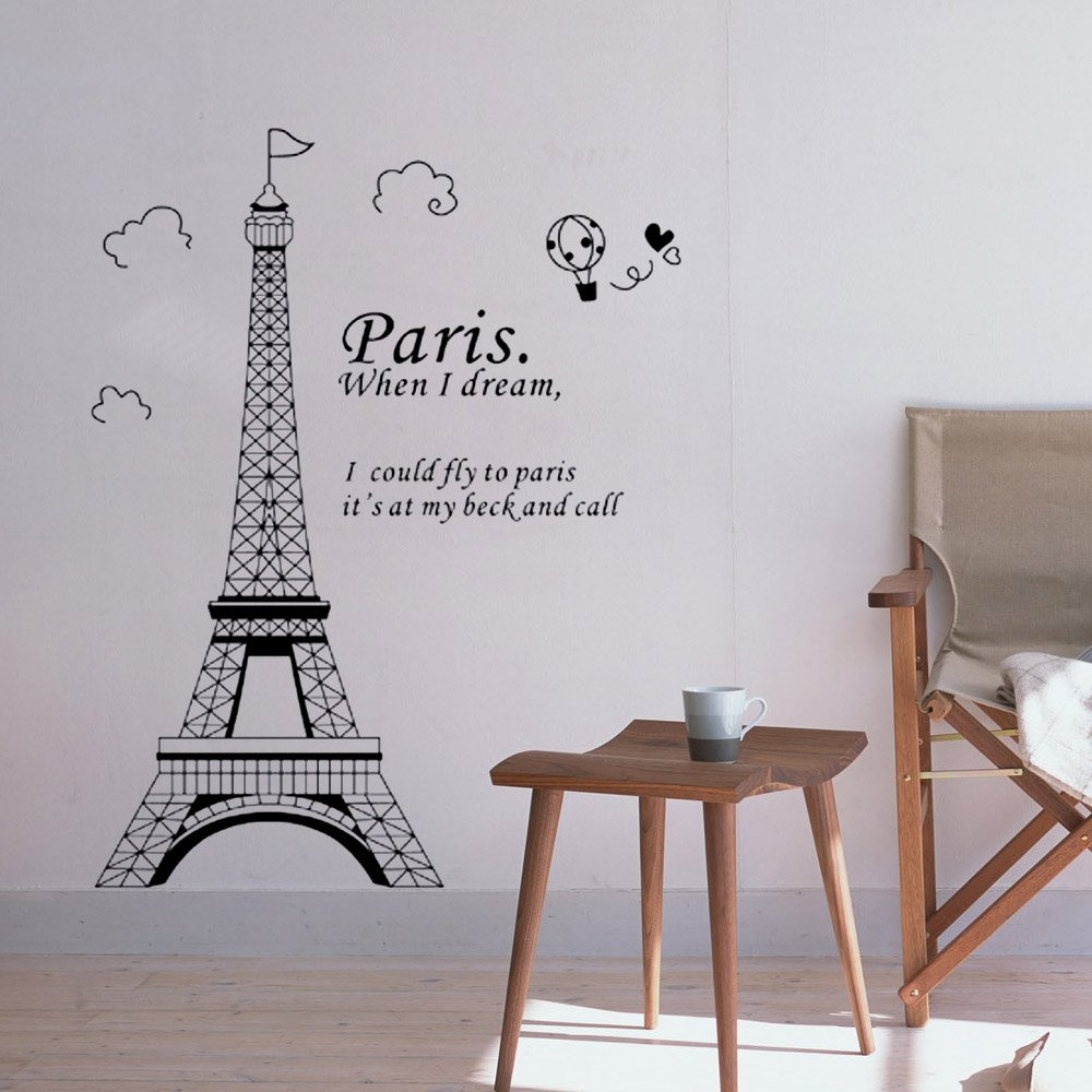 Anself Romantic Paris Eiffel Tower Beautiful View Of France DIY Wall  Wallpaper Stickers Art Decor Mural Room Decal: Amazon.co.uk: Kitchen U0026 Home