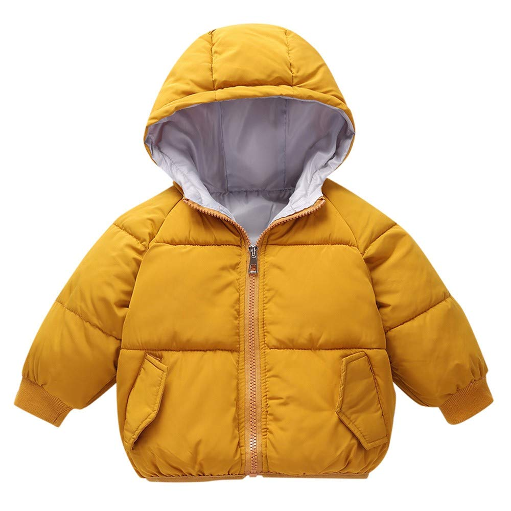 Little Kids Winter Warm Coat,Jchen(TM) Clearance! Kids Baby Little Girl Boys Winter Hooded Coat Cloak Jacket Thick Warm Outerwear for 1-5 Years Old (Age: 18-24 Months, Yellow) by Jchen Baby Coat