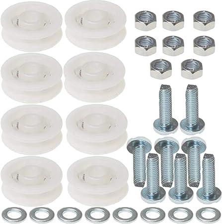 Spares2go - Juego de ruedas para puerta corredera de invernadero (8 ruedas de nailon de 28 mm): Amazon.es: Hogar