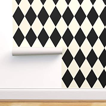 Spoonflower Peel And Stick Removable Wallpaper Harlequin Diamonds Geometric Squares Black And White Checkered Print Self Adhesive Wallpaper 12in X 24in Test Swatch Amazon Com