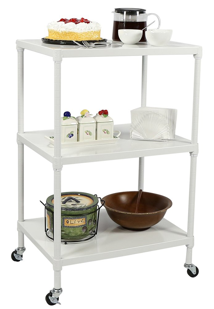 APOLLO HARDWARE NSF Certified 3-Tier Metal Solid Shelving Heavy Duty Utility Cart 18''x24''x37'' (White)