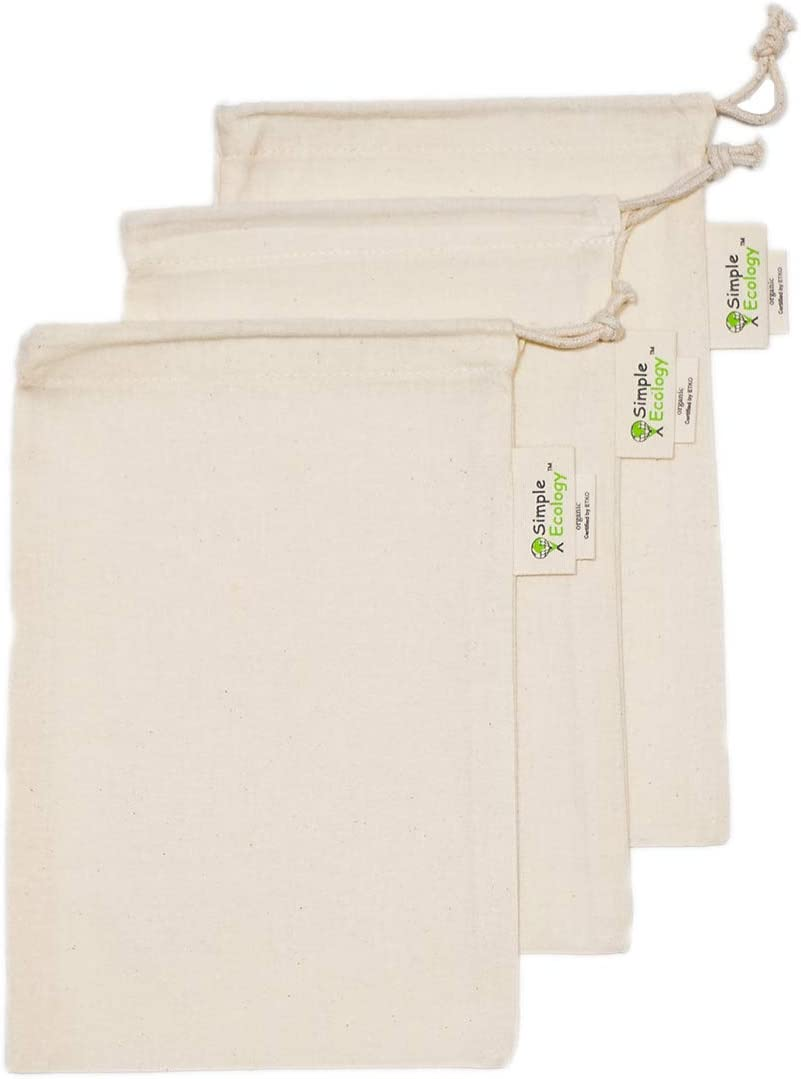 Simple Ecology Muslin Reusable Produce Shopping and Storage Bags, Organic Cotton, Drawstring, Washable, Tare Weight Tag; X Small 3 pack