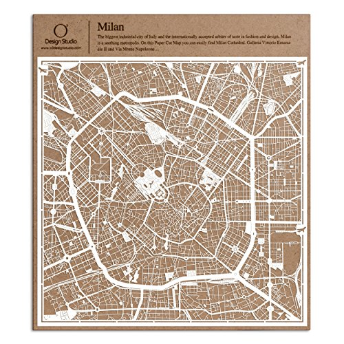- Milan Paper Cut Map by O3 Design Studio White 12×12 inches Paper Art
