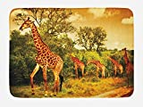 Ambesonne Giraffe Bath Mat, African Safari Animals Walking in the Green Forest Savannah Wildlife Theme, Plush Bathroom Decor Mat with Non Slip Backing, 29.5 W X 17.5 W Inches, Dark Orange Green