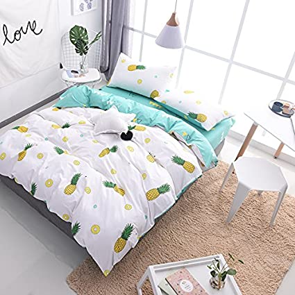 Cliab Pineapple Bed Sheets Full 100% Cotton Duvet Cover Set 4 Pieces
