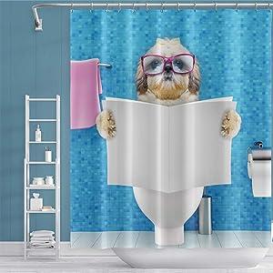 OERJU 60x72 inch Polyester Funny Dog Shower Curtain Cute Animal Ocean Blue Shower Curtain Swimming Pool Bath Curtain Waterproof Bathroom Decor