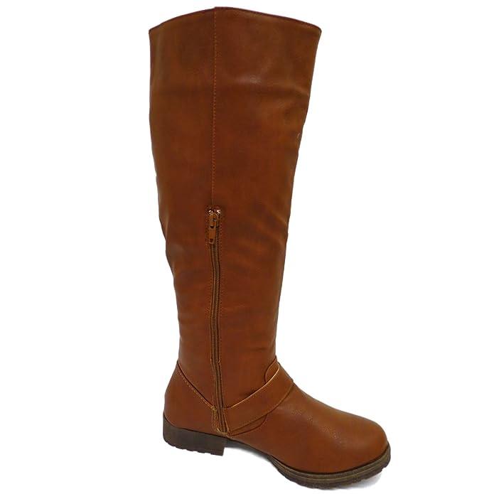 Damen braun kniehoch niedriger Absatz Reiten Reißverschluss Wade Winter, flach  hohe Stiefel Größen 4-9: Amazon.de: Schuhe & Handtaschen