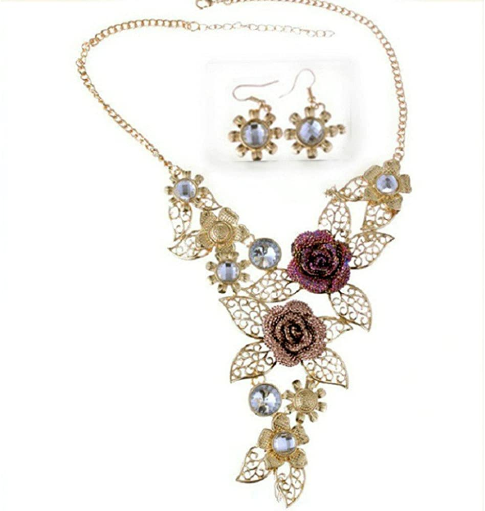 Lovely Gold Pearl LONG Necklace Statement Retro Vintage Flower Bridesmaid Boho
