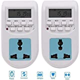Techtest 【2 Pack】 Digital Timer Socket Switch Electrical on Off Power Saver Device for Home Watt Meter Plug Electricity Automatic Ac Light Programmable Energy Saving Socket Type Digital Timer Meter