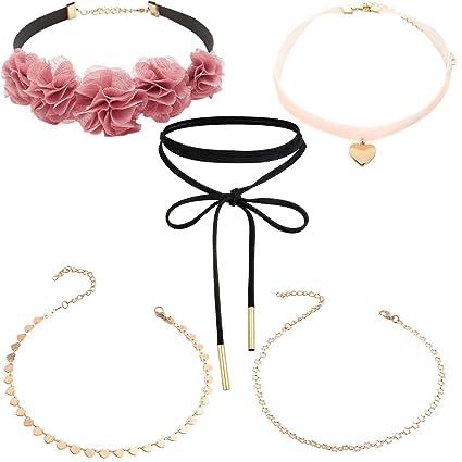 Tpocean Gold Chain Thin Love Heart Sequins Beaded Choker Necklaces Women Girls Teen