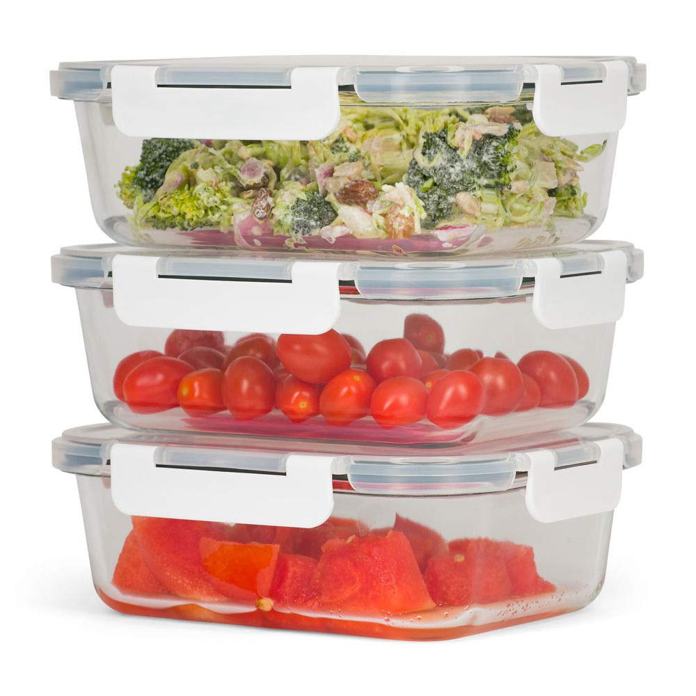 SWD Wellness Glass Meal Prep and Food Storage Containers [3 Single Compartment Containers x 32oz]