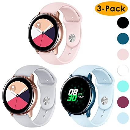 cheap for discount a0ae6 b8445 EZCO 3-Pack Compatible Samsung Galaxy Watch Active Bands/Galaxy Watch  42mm/Gear Sport Bands, 20mm Soft Waterproof Silicone Sport Watch Strap ...