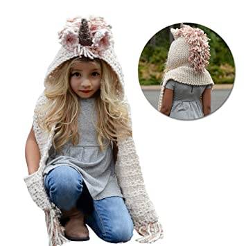 Bonnet de Laine Tricot Unicorn Ensemble Bonnet Echarpe Hiver pour Enfants  Filles, Vandot 3 en
