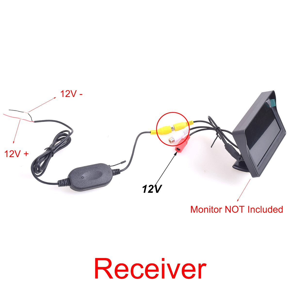 EKYLIN Backup Camera Wireless Video Cable for DVR Mirror Dash Cam GPS Tablet to Car Rear View Camera RCA Phono to Aux 2.5mm AV-IN Adapter