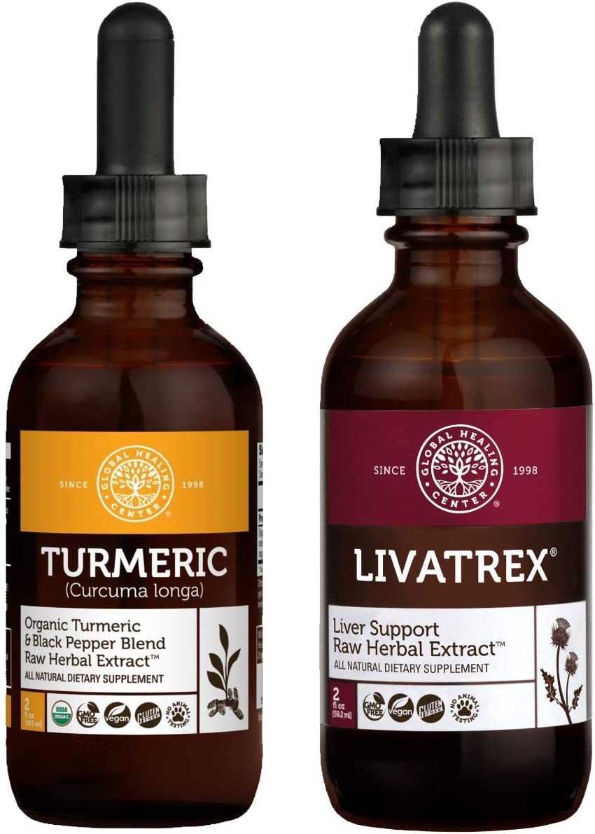 Global Healing Livatrex & Turmeric Kit - Liquid Supplement Drops Support Liver and Gallbladder Detox & Organic Antioxidant With Black Pepper Extract For Heart, Digestive Health & Joints - 2 Fl Oz Each