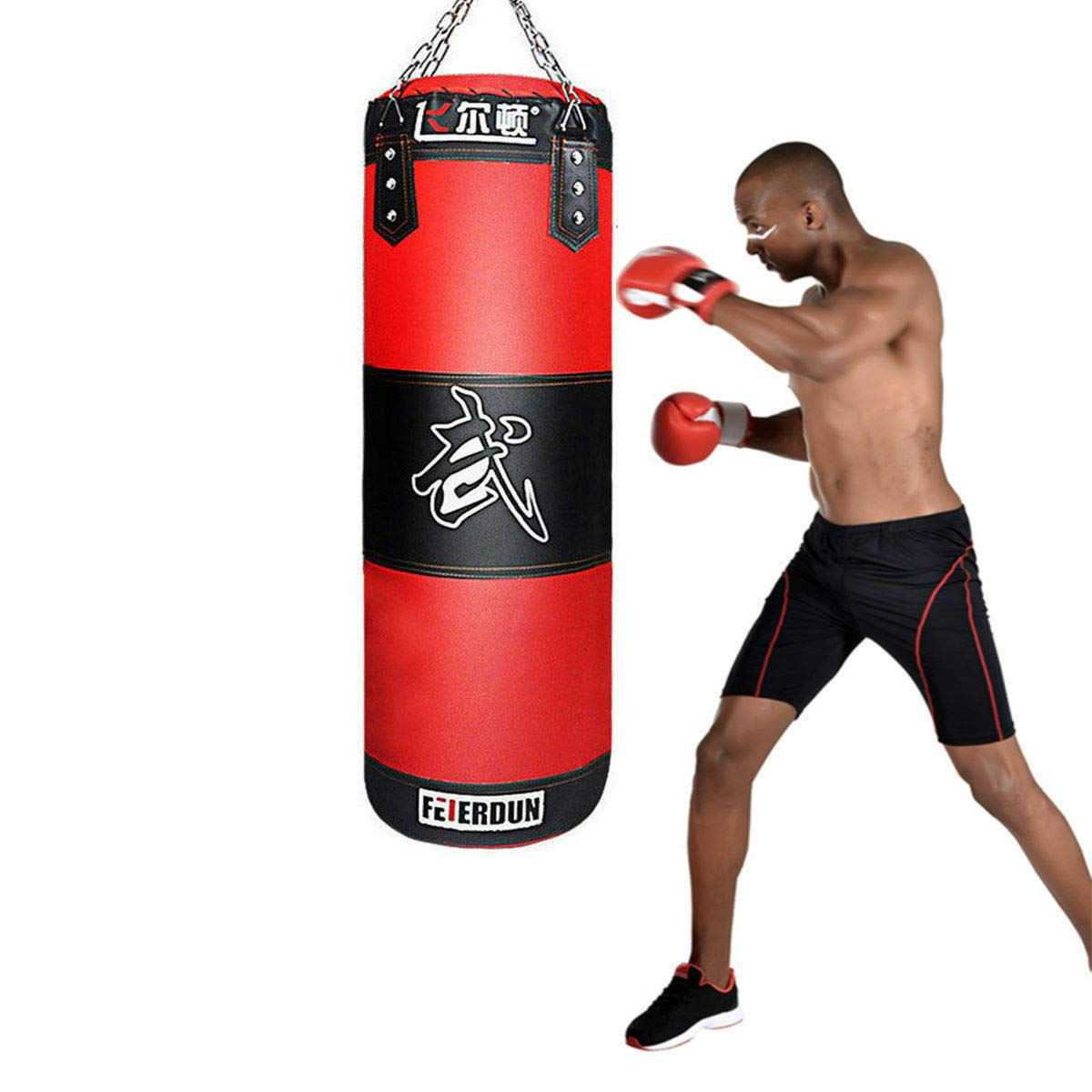 Honeybeloved Bag Training Gloves Speed Set Kicking MMA Workout Empty US Heavy Boxing Punching Red&Black Heavy Bag by Honeybeloved