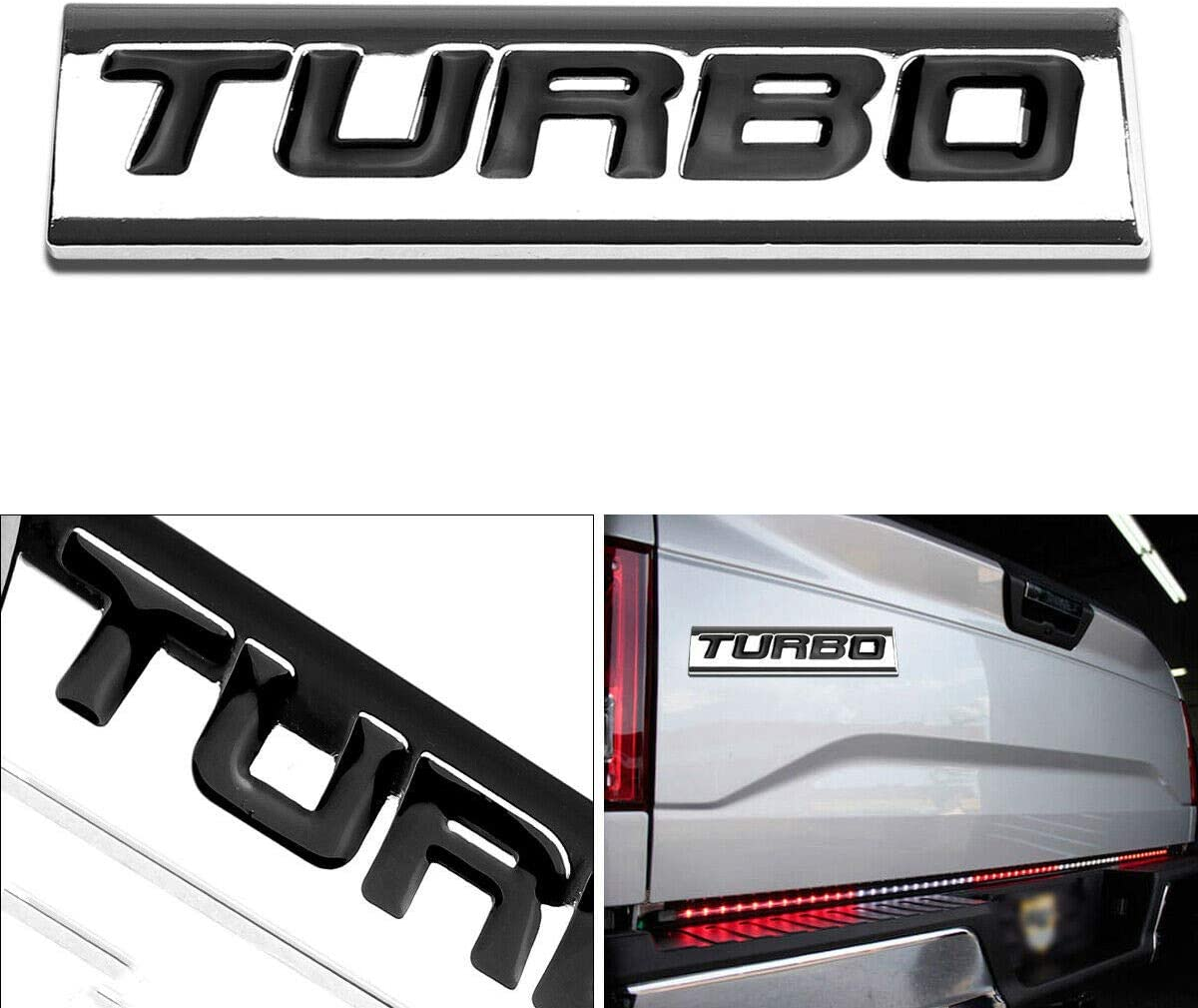 Chrome Black 1x 3D Chrome Finish Metal TURBO Emblem Alloy Badge Sticker
