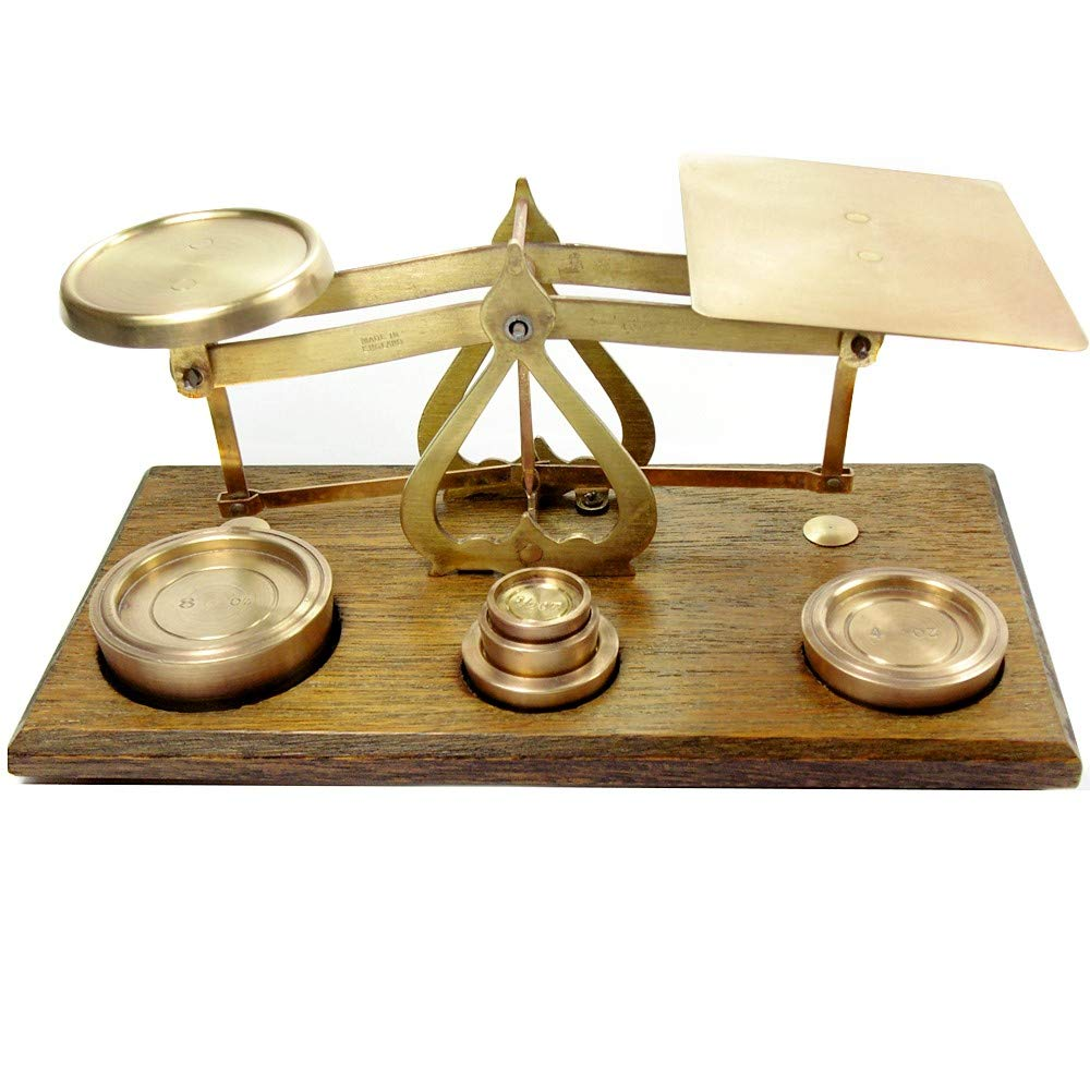 Antique Victorian Oak & Brass English Postal Scales with