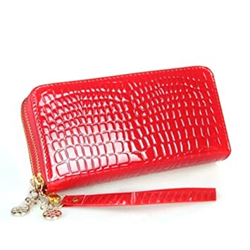 Espeedy Moda mujer bolsos largos de cuero de color sólido patrón de piel de cocodrilo doble cremallera señoras carteras bolso de tarjeta de embrague de la ...