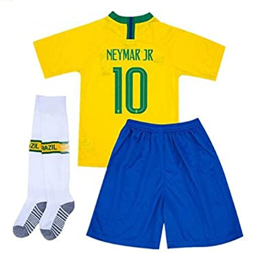 ee721b6cb Goldenhetai 2018 World Cup Soccer Team Brazil Neymar 10 Kids Youth Home  Jersey Color Yellow