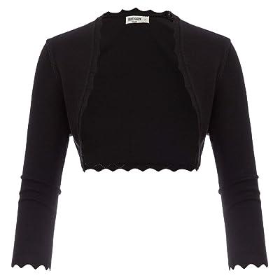 GRACE KARIN Women's 3/4 Sleeve Open Front Scalloped Knit Cropped Bolero Shrug at Women's Clothing store
