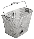 MTS Basket with Bracket Silver, Front Quick Release Basket, Removable, Wire Mesh Bicycle basket, NEW, Silver