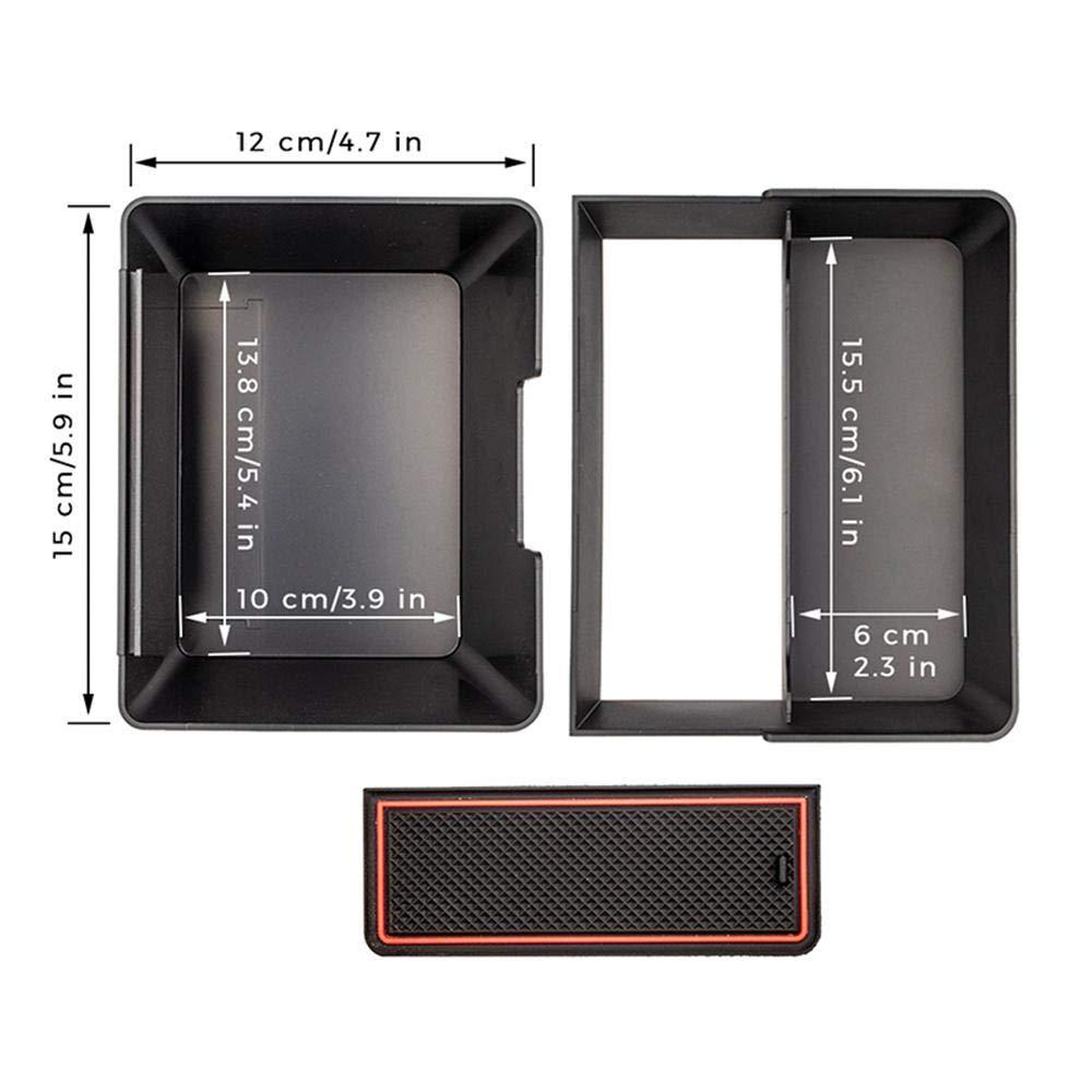 Center Console Armrest Storage Box Holder with Double Storage for Tesla Model 3 lesgos Center Console Organizer for Tesla Model 3