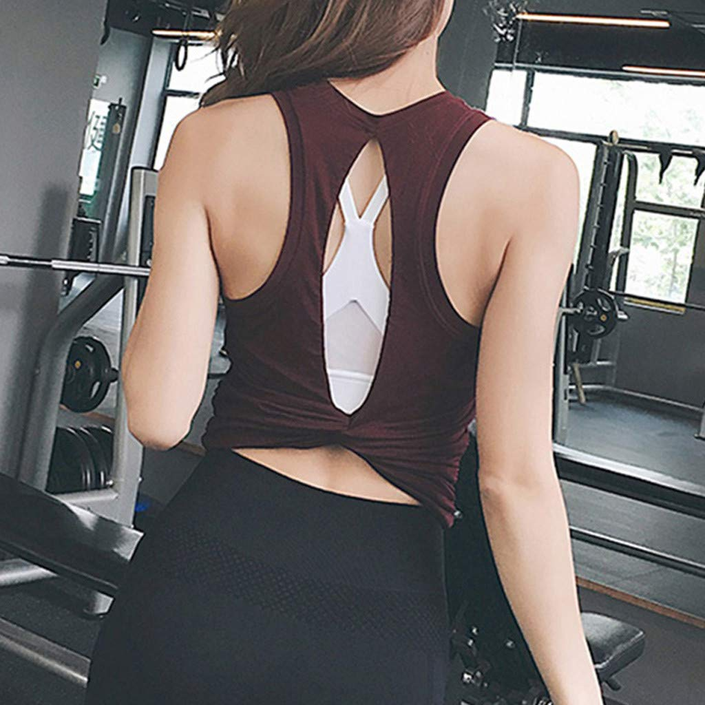 Rockia Yoga Tops Workouts Clothes Activewear Shirts Open Back Blouse Sports Tank Top for Women Slim Basic Vest