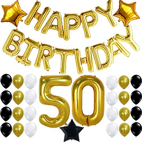50th BIRTHDAY PARTY DECORATIONS KIT - Happy Birthday Foil Balloons, 50 Number Balloon Gold, Balck Gold and White Latex Balloons,Perfect 50 Year Old Party Supplies, Free Bday Printable Checklist -