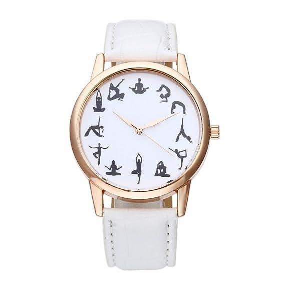 jsdde Relojes, Fashion 12 Negro Yoga patrón Escala Reloj de Pulsera Cuero PU Banda Reloj Mujer Rose Oro analógico de Cuarzo Reloj, Blanco: Amazon.es: ...