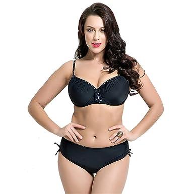 624ebd913a973 Leories Women's Plus Size Pleated Push up Two-Piece Swimsuit Swimwear  Bikini Bathing Suits Black